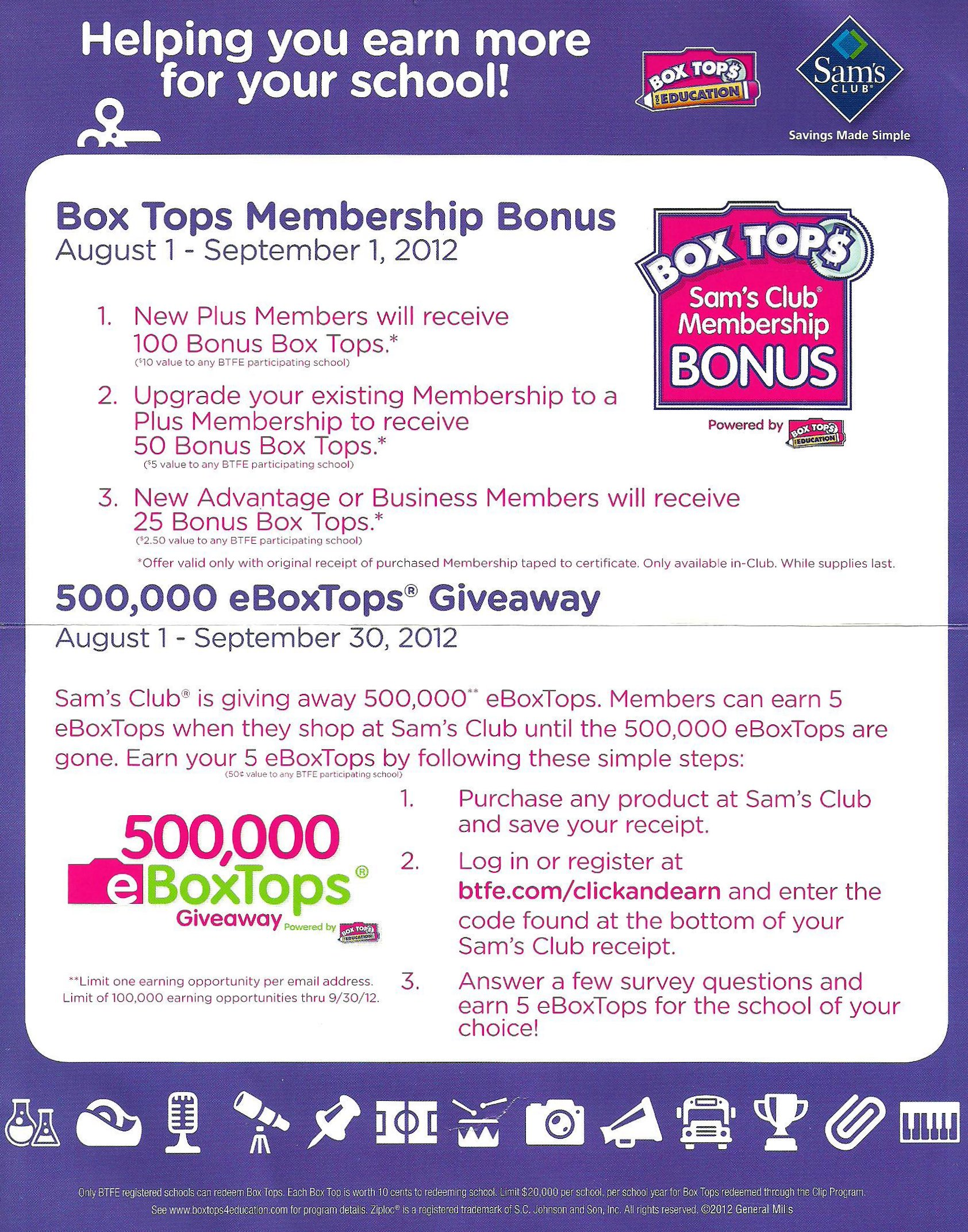 Mommy Katie: #Giveaway $25 Sam's Club & Box Tops For Education ...